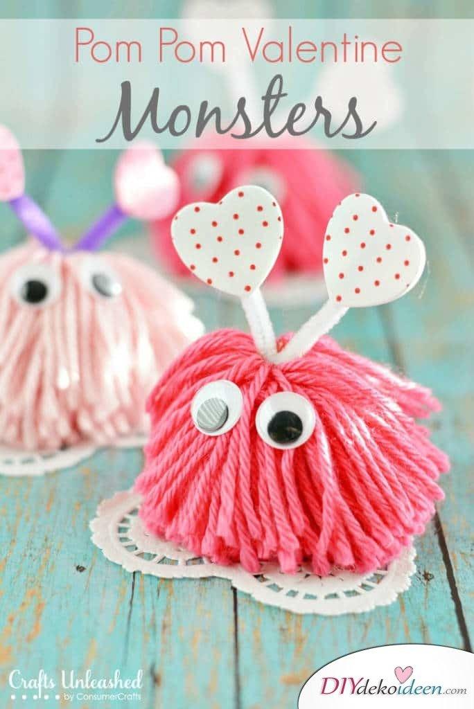 DIY Süße Puschel-Monster zum Valentinstag