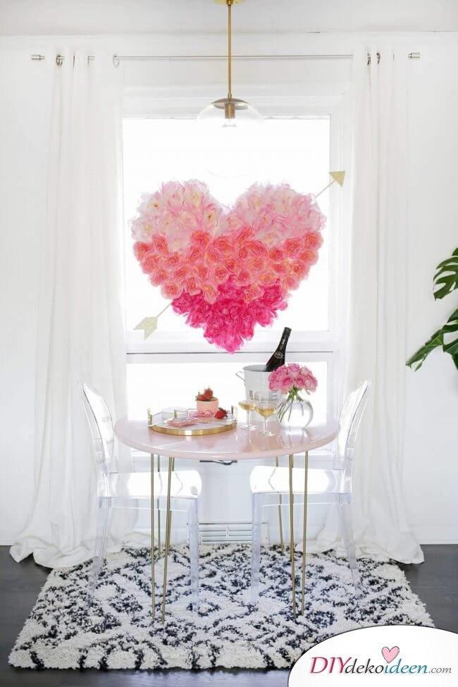 DIY Romantische hängende Blumenherz-Deko
