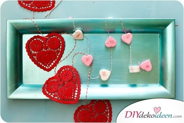 DIY Zuckerherzen-Girlande zum Valentinstag