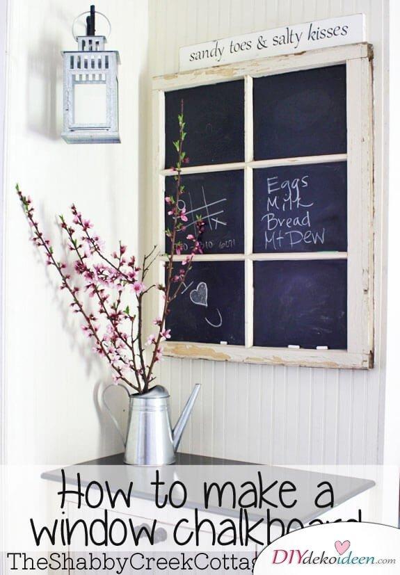 DIY Notiztafel selber basteln aus Fensterrahmen