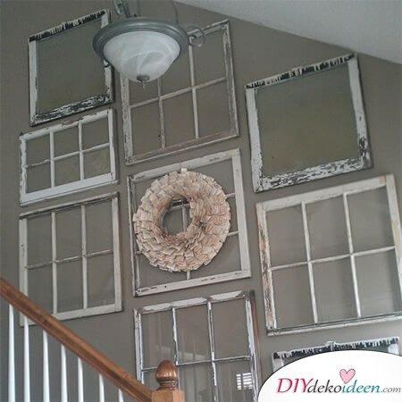 Wohnideen mit alten Fensterrahmen - kahle Wände verschönern