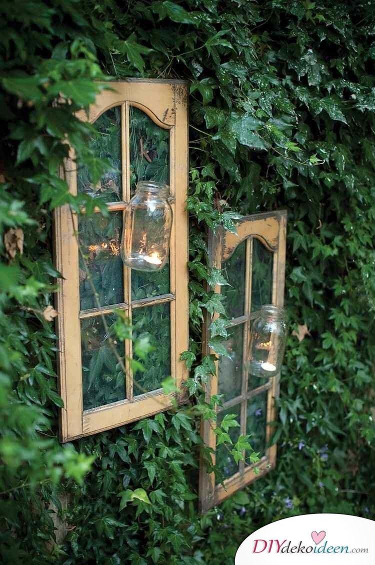 Altes Fenster Dekorieren alte fenster deko garten efeu begruenter zaun fensterrahmen glaser