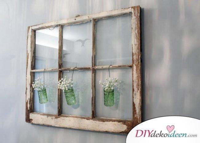 Alte Fenster Dekoration Vasen Glas Blumen Aufhaengen Wand Jpg