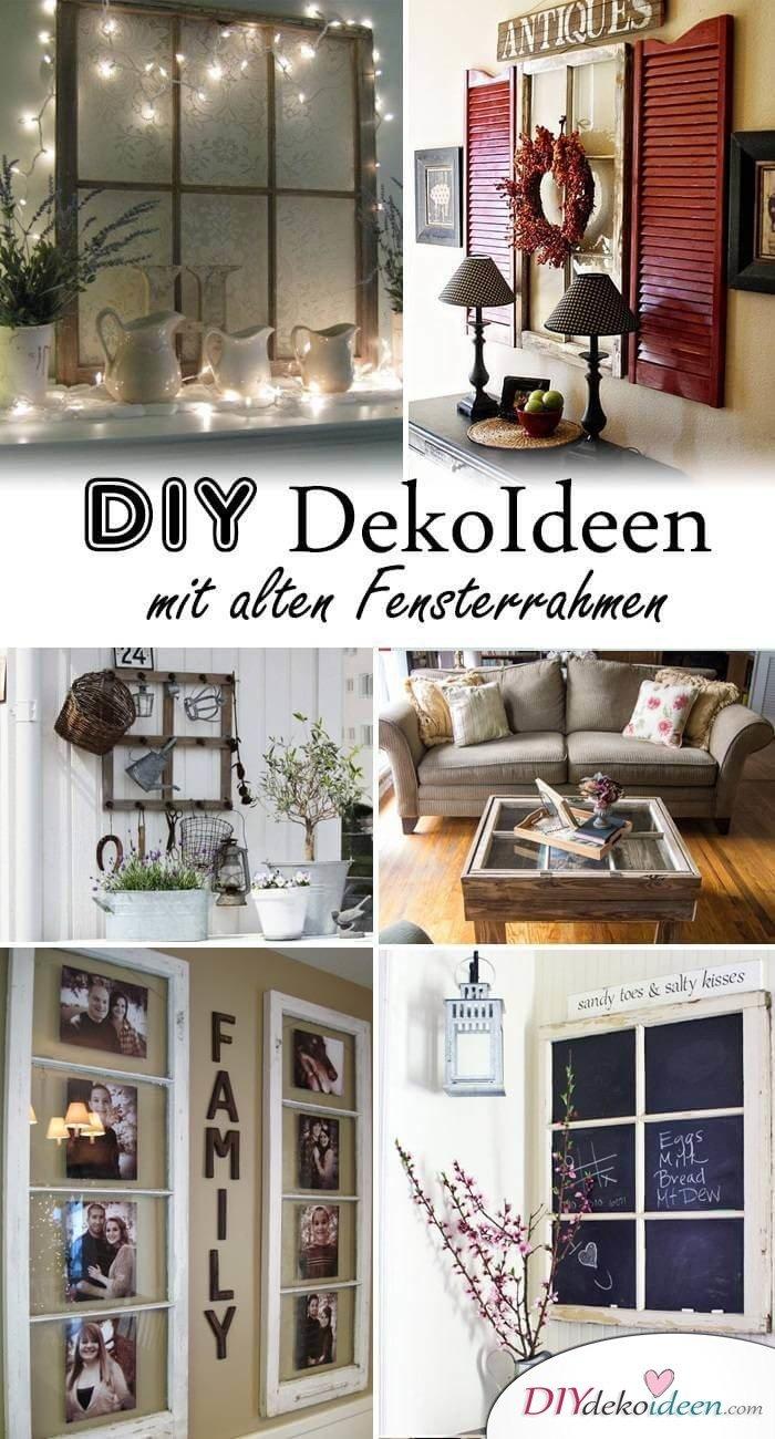 DIY Wanddeko selber machen aus alten Fensterrahmen