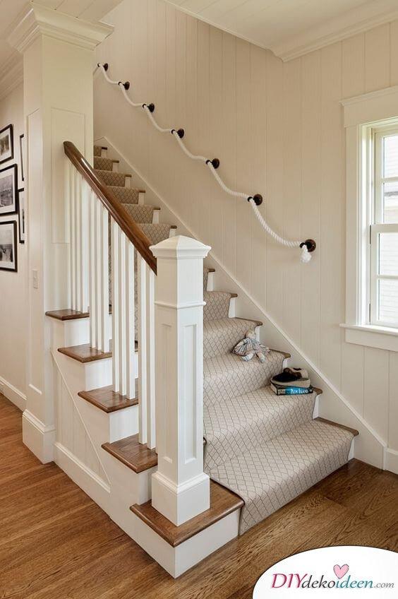 Treppe Designidee mit Naturschnur - kreative Wohnideen