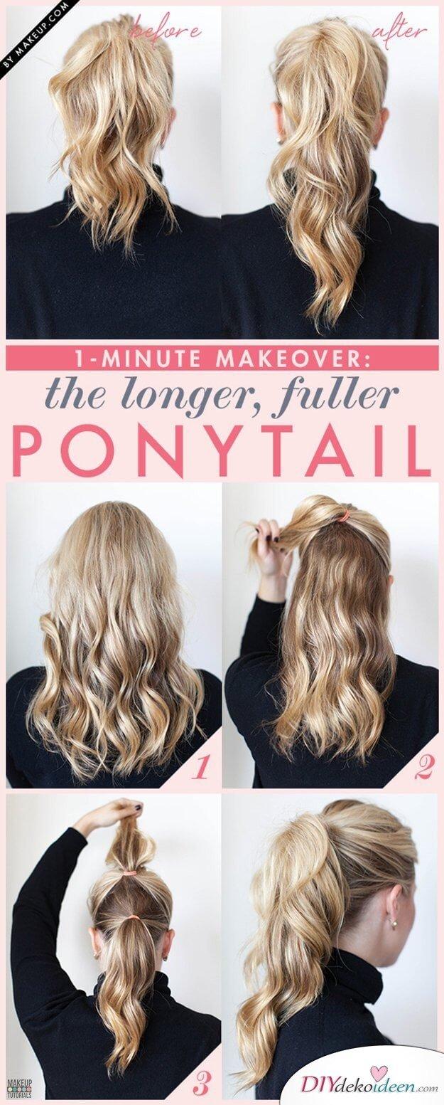 Längerer Zopf mit einem leichten Trick - Haarstyle zum Selbermachen