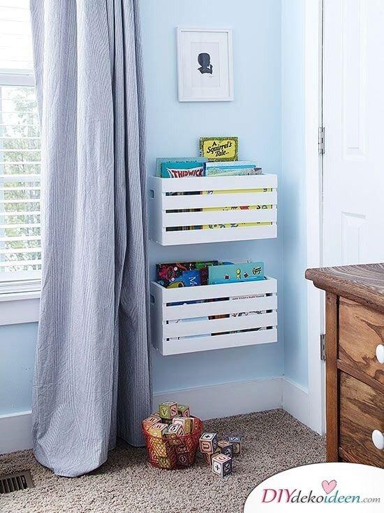DIY Bastelideen mit Holzkisten - Bücherregal im Kinderzimmer