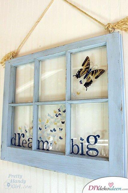 Kinderzimmer vintage Wanddeko selber machen: Fenster Upcycling