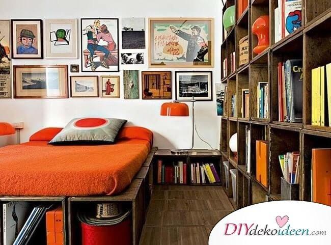 Schlafzimmer mit Holzkisten einrichten - DIY Wohnideen zum Selbermachen