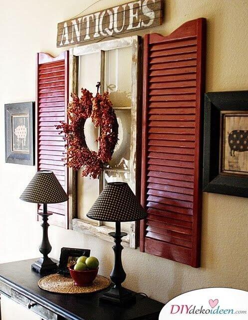 rustikale Wanddeko mit Fensterläden - DIY Bastelideen