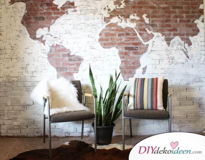 Ziegelmuster-Landkarte DIY Wanddeko