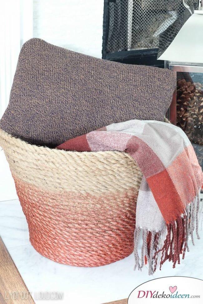 Ombre Korb aus Naturschnur selber basteln - DIY Wohnaccessoires