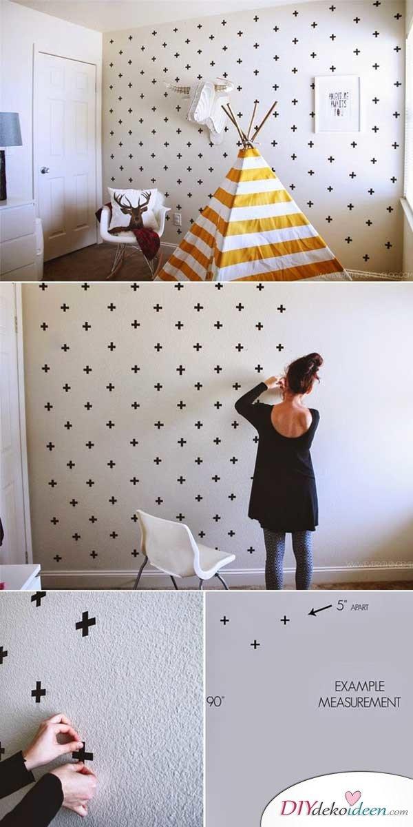 DIY Wand dekorieren mit Klebestreifen - kreative Muster