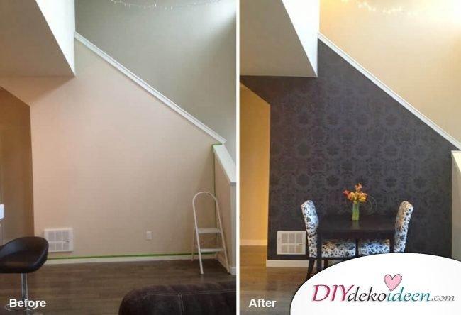 Wand selber dekorieren - Vorher-Nachher