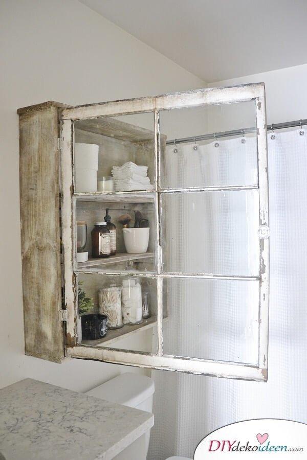 Badezimmerschrank zum Selbermachen - rustikale Deko Ideen