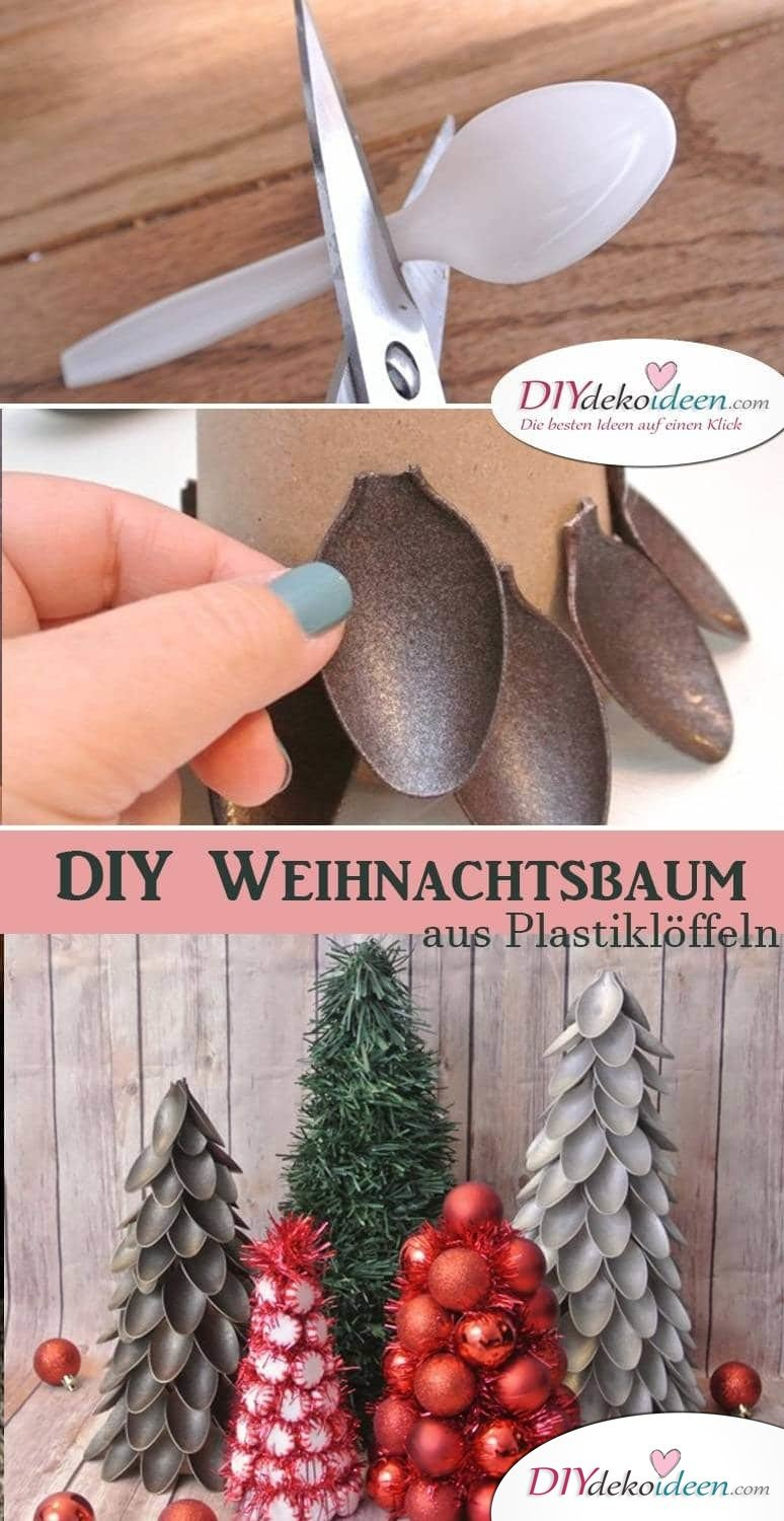 kreative diy weihnachtsbaum deko aus plastikl ffeln. Black Bedroom Furniture Sets. Home Design Ideas