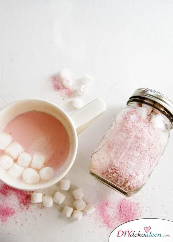 DIY Pinke heiße Schokolade-Geschenk im Glas