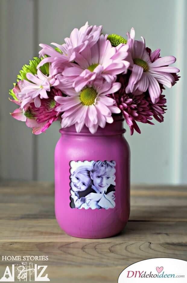 Foto-Vase aus Weckgläsern basteln