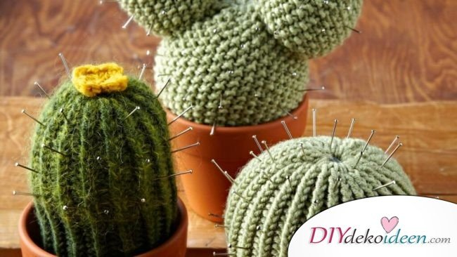 Nähkissen selber machen - Kaktus stricken - Geschenkidee