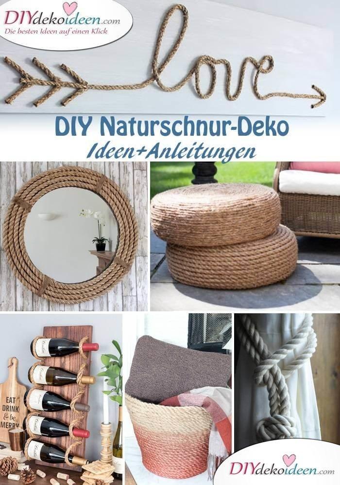 DIY Deko Ideen mit Naturschnur - Bastelideen zum Selbermachen