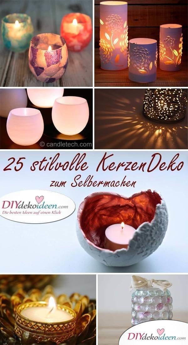 DIY Kerzen selber machen - Dekoration mit Kerzenhalter
