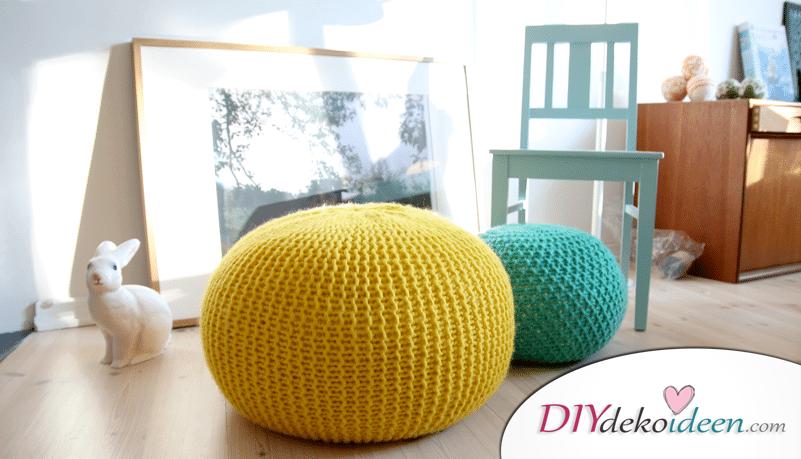 DIY Sitzpouf selber stricken - kreative Wohnideen - DIY Wohnaccessoires selber machen
