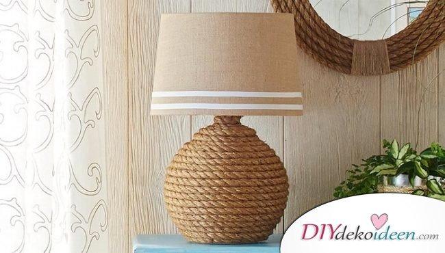 DIY maritime Lampe selber machen aus Naturschnur