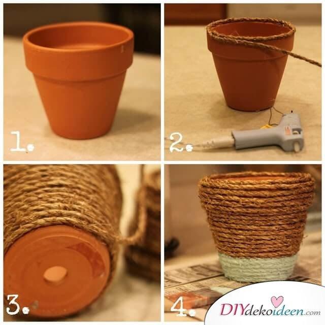 DIY Deko Ideen mit Naturmaterialien - Blumentopf selber verzieren