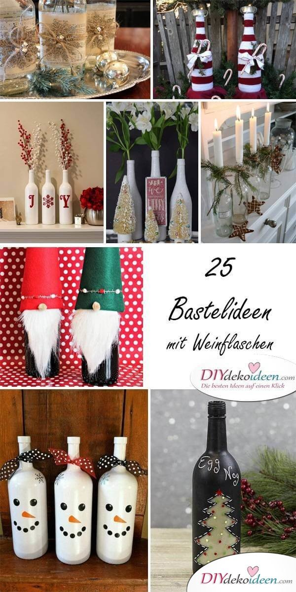 DIY Bastelideen mit Weinflaschen - Weihnachtsdeko selber machen
