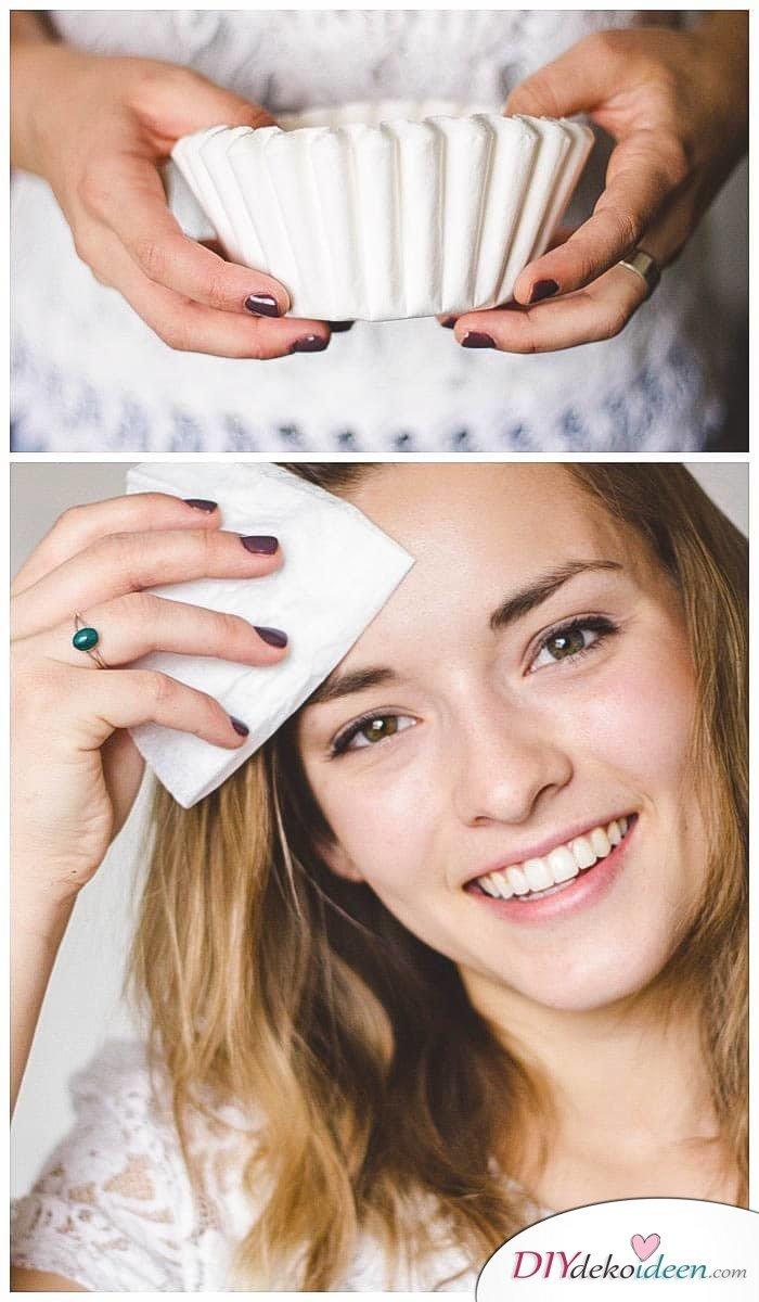 Kaffeefilter gegen öliger Haut - DIY Schönheits-Tricks