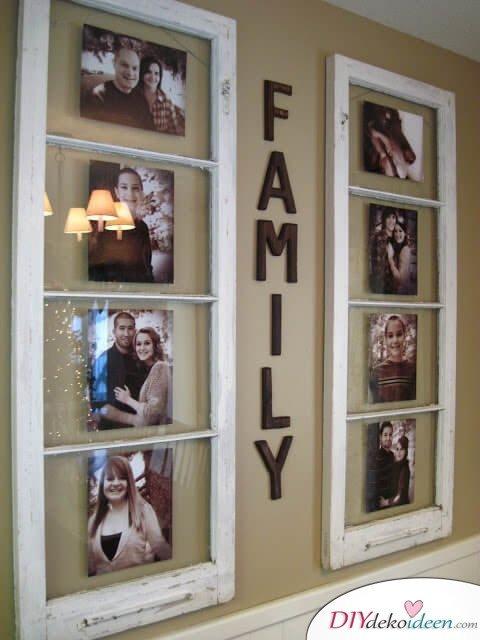 Schöne Wanddeko selber machen mit alten Fenstern-DIY Wanddeko Ideen