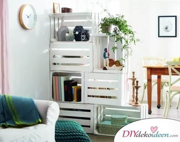 DIY Raumteiler aus Holzkisten bauen