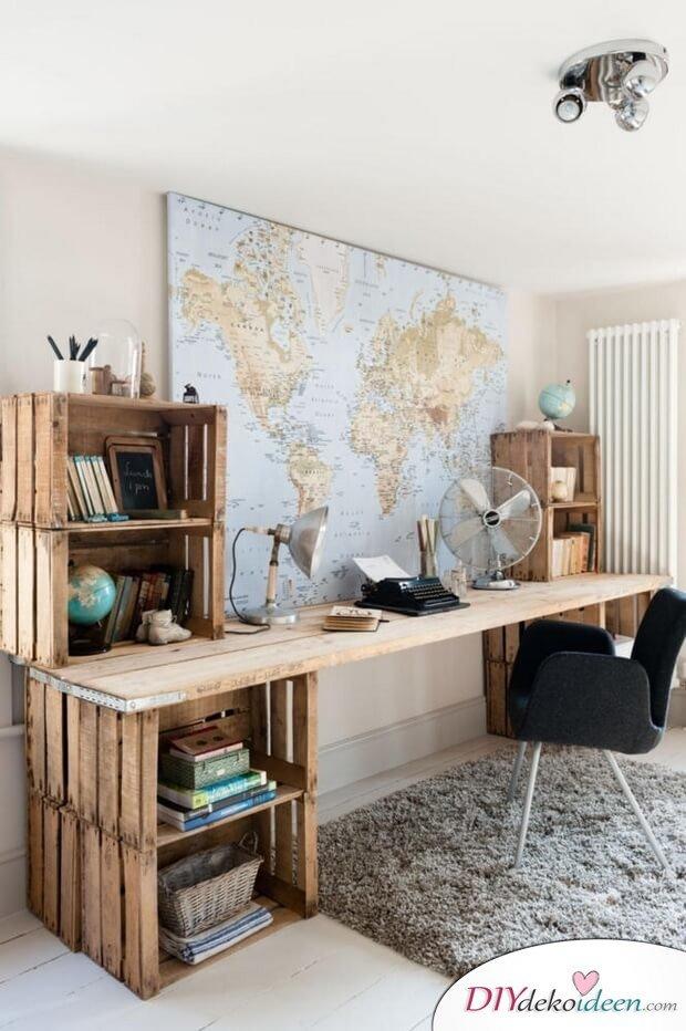 Schreibtisch selber basteln - DIY Bastelideen mit alten Holzkisten