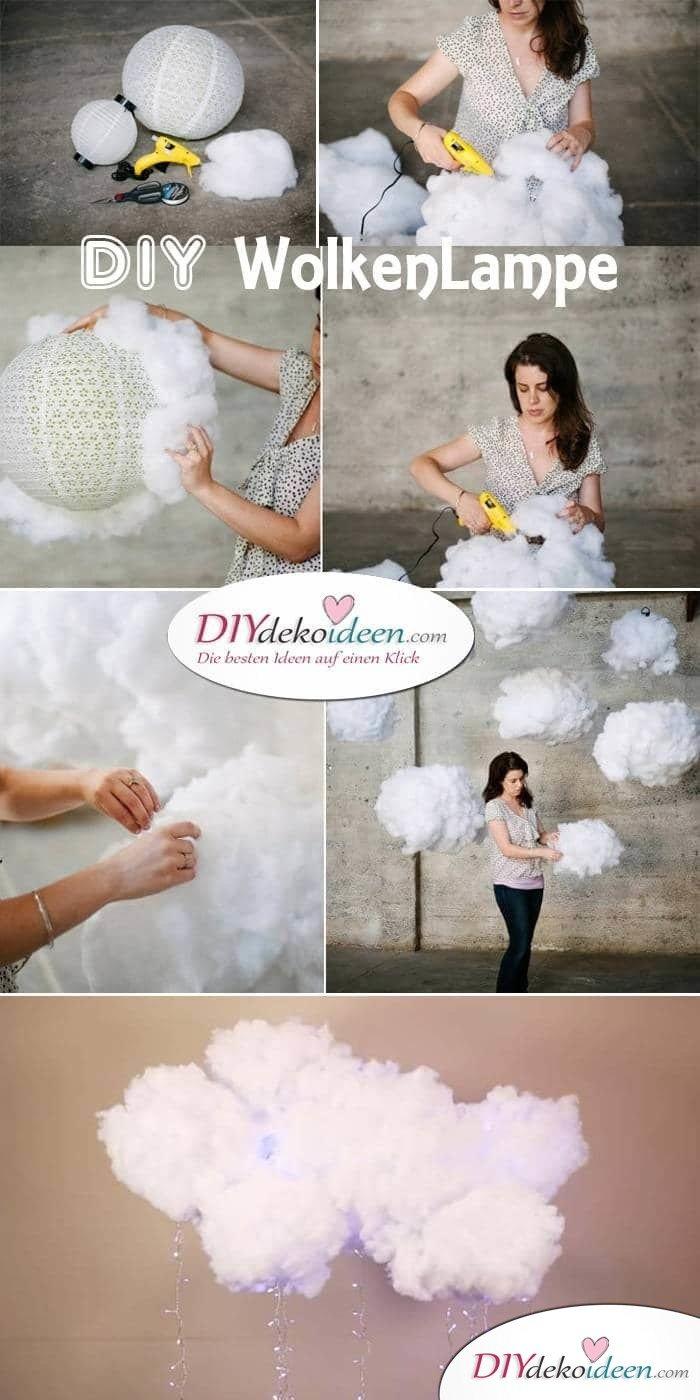 Wolken-Hängelampe selber basteln - DIY Deko-Hängelampe