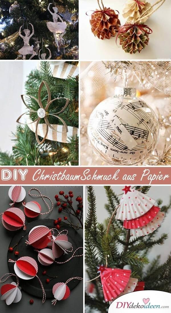 DIY Weihnachtsbaum-Schmuck Ideen aus Papier