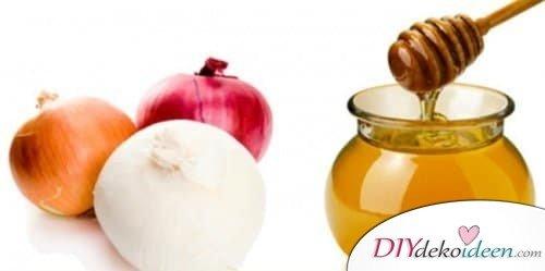 Haarmaske selber machen - Zwiebel-Honig Haarmaske gegen Haarausfall