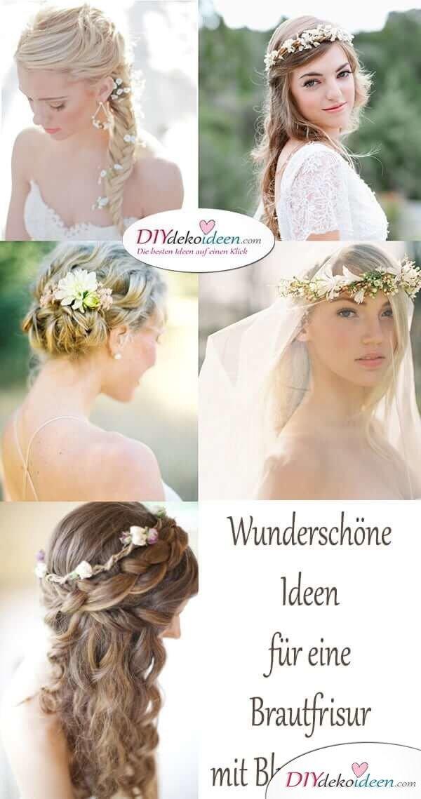 Wunderschöne Ideen für eine Brautfrisur mit Blumengesteck
