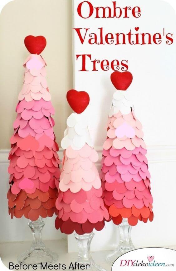 Ombre Deko-Baum mit Herzen aus Filz