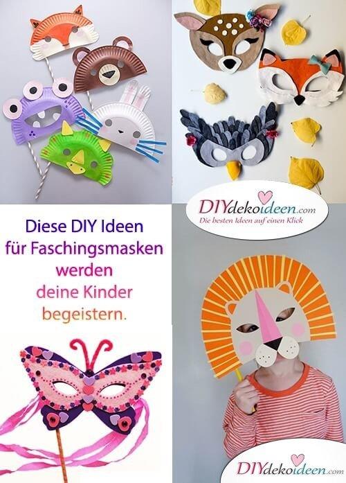 Diese DIY Ideen für Faschingsmasken werden deine Kinder begeistern.