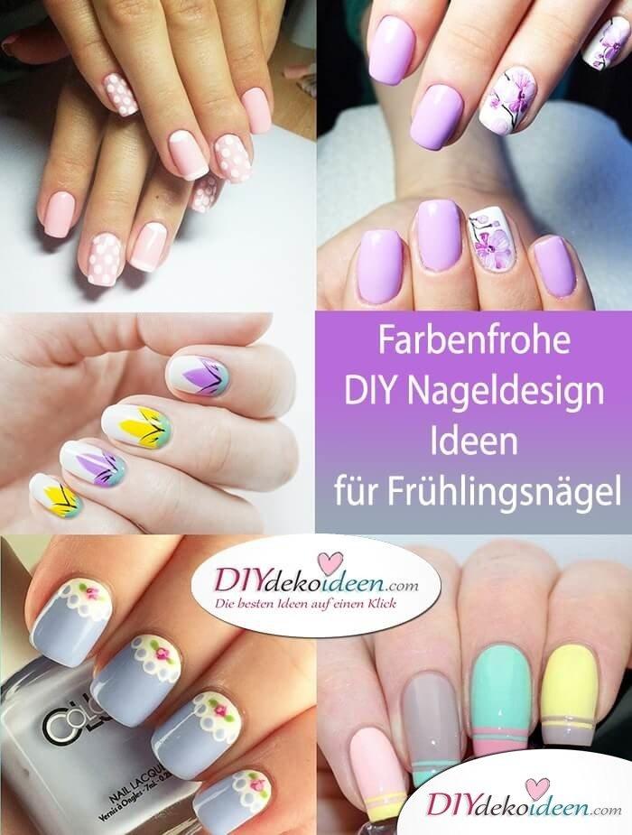 Wunderschöne farbenfrohe DIY Nageldesign Ideen für Frühlingsnägel