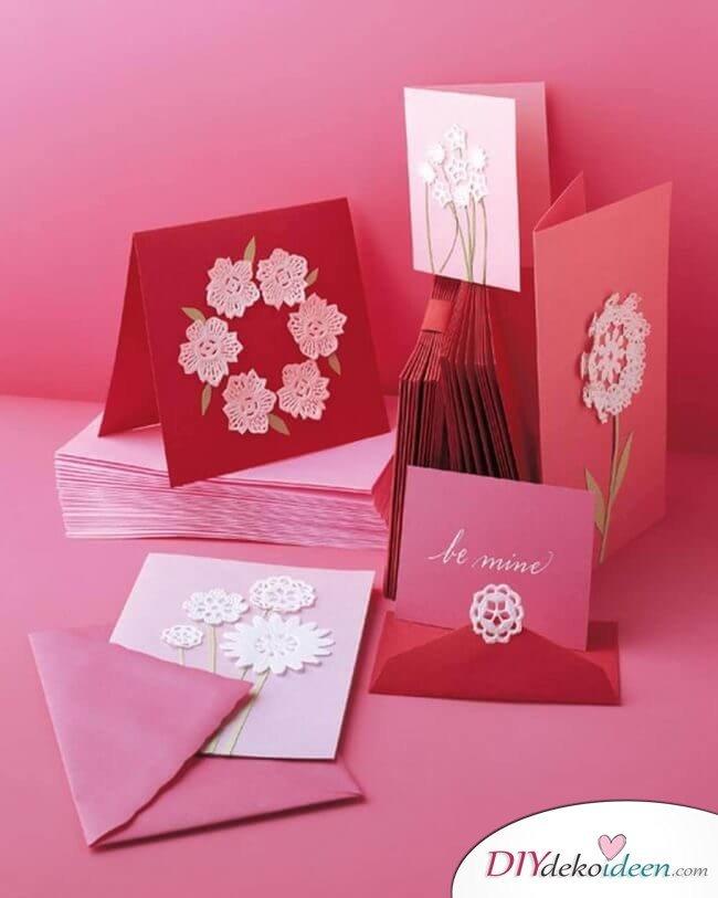 Tortenspitzen-Karten - DIY Last Minute Bastelideen zum Valentinstag