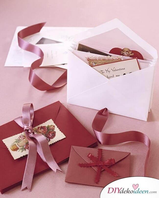 Erinnerungs-Briefumschläge - DIY Valentinstag Last Minute Bastelidee