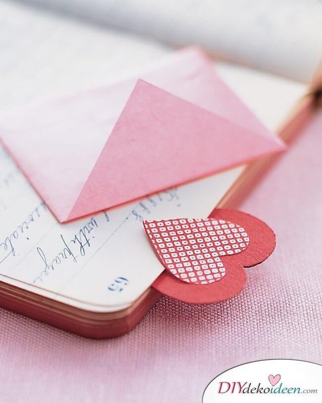 Herz-Lesezeichen - Valentinstag DIY Geschenk