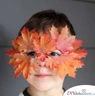 DIY Ideen für Faschingsmasken - Basteln mit Blättern
