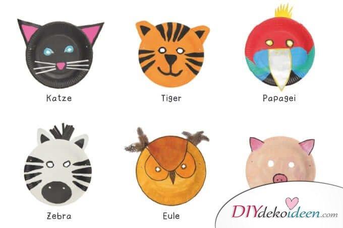DIY Ideen für Faschingsmasken - Tiermasken aus Papptellern