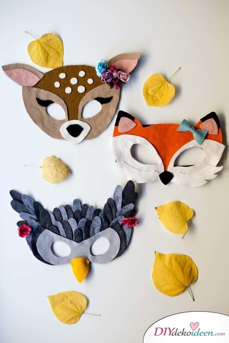 DIY Ideen für Faschingsmasken - Masken aus Filz