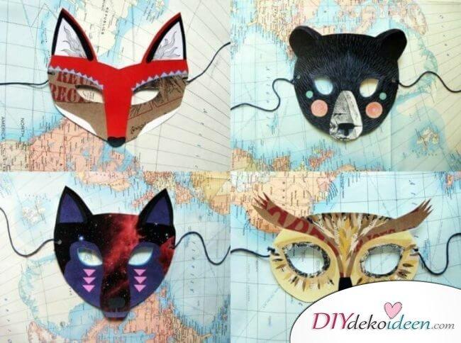 DIY Ideen für Faschingsmasken - Interessante Tiermasken