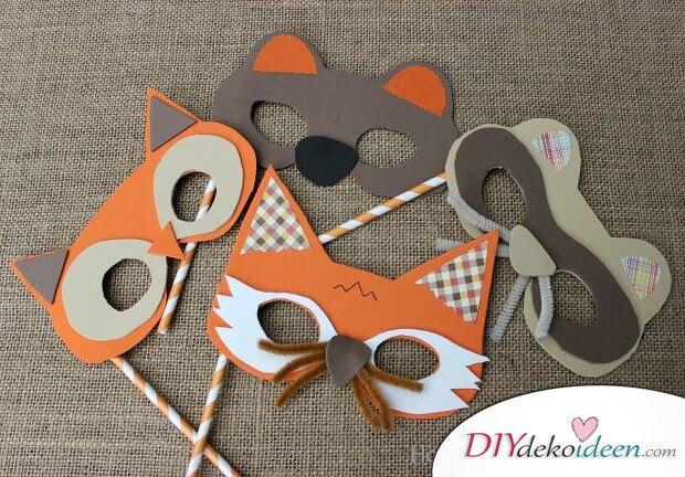 DIY Ideen für Faschingsmasken - Tiermasken aus Moosgummi