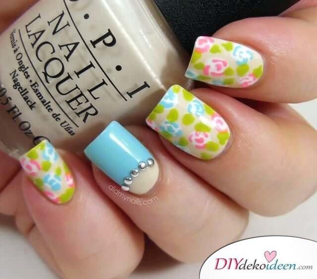 DIY Nageldesign Ideen für Frühlingsnägel - Schöne Nägel mit Blumenmustera