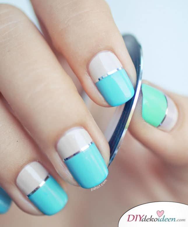 DIY Nageldesign Ideen für Frühlingsnägel - Schöne Nägel mit schicken Metallstreifen